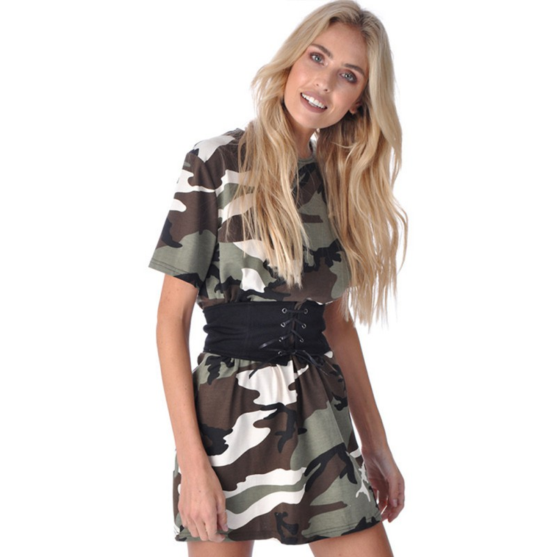 Women Casual Camouflage Print Dress With Belt Fashion Street Wear Style Cloth Dresses Summer Vestido