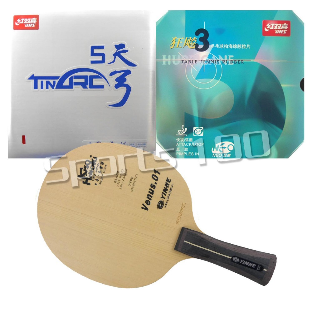 Pro Combo Racket Galaxy YINHE Venus.1 Blade with DHS TinArc 5 and NEO Hurricane 3 Rubbers Long Shakehand-FL pro combo racket galaxy yinhe w 6 long shakehand fl with ritc729 focus3 snipe and dhs neo hurricane 3 rubbers