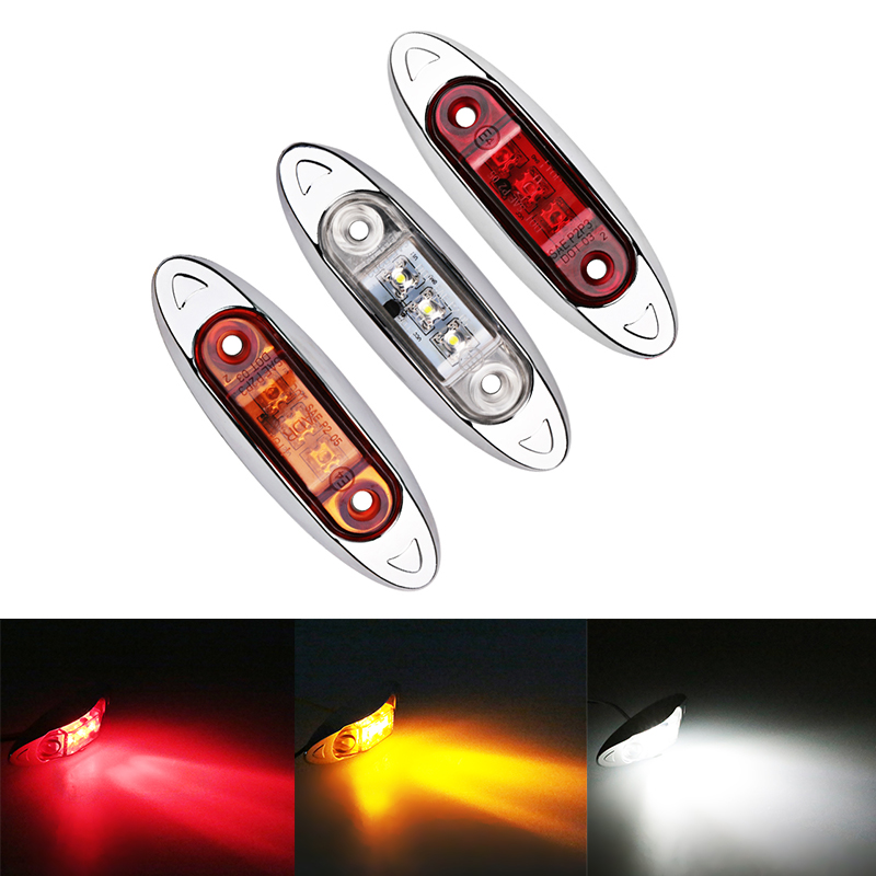 2PCS 9-30V Side Marker Indicators Lights Lamp For Auto Car Truck Trailer Lorry Bus Caravan  3 LED Clearence light 12V 24V 10pcs 6 led red white green blue yellow amber clearence car truck bus lorry trailer side marker indicators light lamp 12v 24v