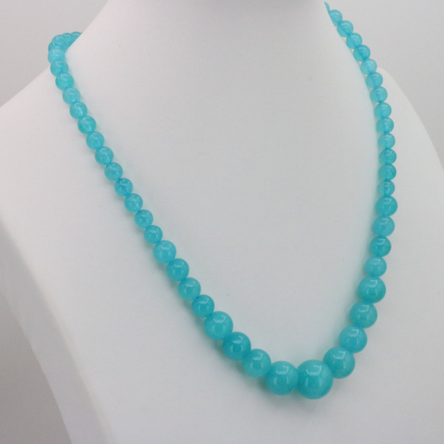 """Sea blue chalcedony 6-14mm round bead stone tower chain necklace 18 """" earrings women jewelry sets fashion style"""