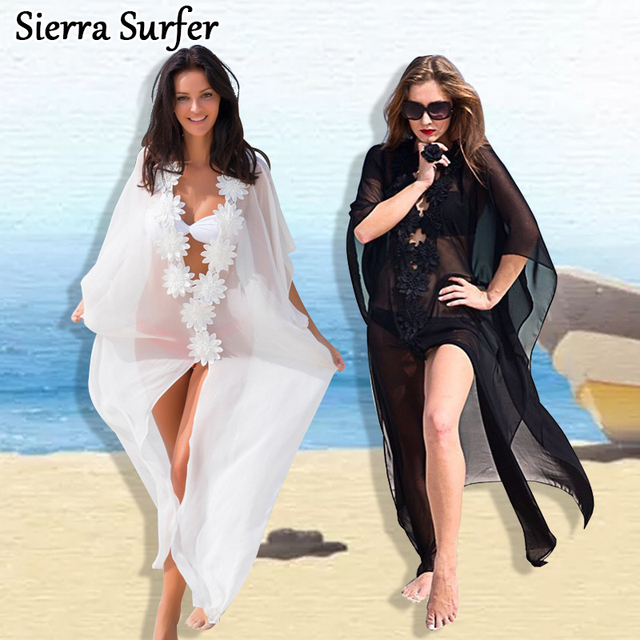 1364292a1a2bd Pareo Beach To Swimsuit Coverup Kaftan Dress Tunic Robe Cardigan Cover Up  Summer Dresses New White Flowers Loose Beach Bikinis
