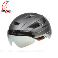 MOON Men's Cycling Helmet Ultralight Bike Helmet Black Visor Mountain Road Bicycle Helmet with Lenes For Mountain Bike