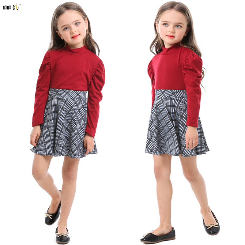 Girls Two Pieces Clothing Set Tops & Plaid Skirt Fashionable Long Sleeve Autumn Child Clothes Kids Outfit For 3 4 5 6 7 8 Years