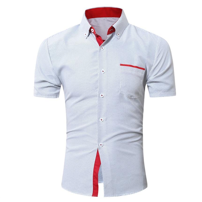 Chamsgend Blouse Men Casual Slim Short Sleeve Dot Print Formal Business Shirts Summer Male Tops 80322