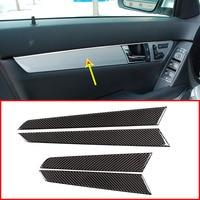 4pcs Real Carbon Fiber Interior Door Decoration Panel Cover Trim Stickers For Mercedes Benz C Class W204 2008 2014 Car Accessory