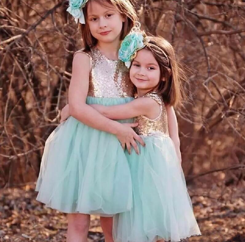 New Sky Blue Tulle Shiny Sequins Knee Length Flower Girls Dresses for Wedding Girls Birthday Pageant Dress Customized Vestidos