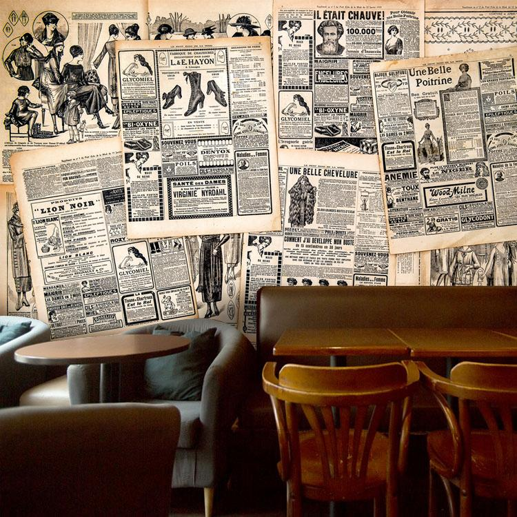 Free Shipping European KTV bar background wallpaper retro casual British style wallpaper personalized 3D English newspaper mural free shipping personalized fashion figure puzzle 3d wallpaper salon bedroom wallpaper background bar ktv mural