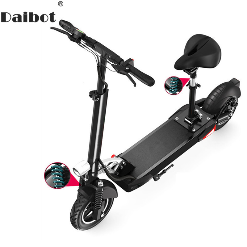 Daibot Electric Scooter 48V Two Wheel Electric Scooters With Seat 500W Three Suspension Portable Foldable Kick Scooter For Adult aiyuqi big size 42 100% natural genuine leather female flat shoes 2018 spring new ladies shoes comfortable nurse shoes female