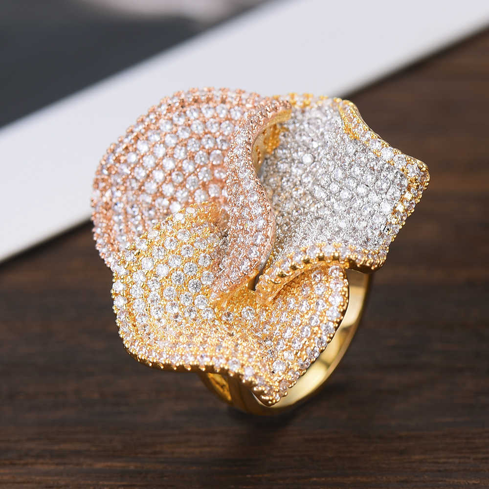 GODKI Luxury Big Flowers Statement Finger Rings for Women Wedding Cubic Zircon CZ African Bridal Dubai Chic Rings Jewelry 2019
