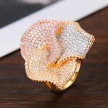 GODKI Luxury Big Flowers Statement Finger Rings for Women Wedding Cubic Zircon CZ African Bridal Dubai Chic Rings Jewelry 2019