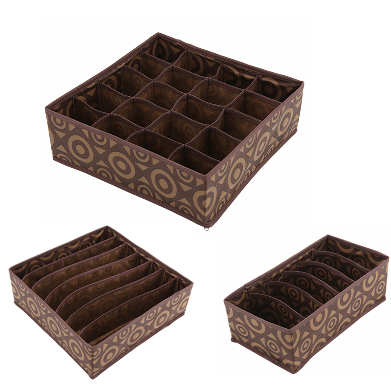 3PC/Set Circle Pattern Non-woven Storage Boxes Bins For Underwear Towels Socks Ties Home Living Closet Clothes Organizer