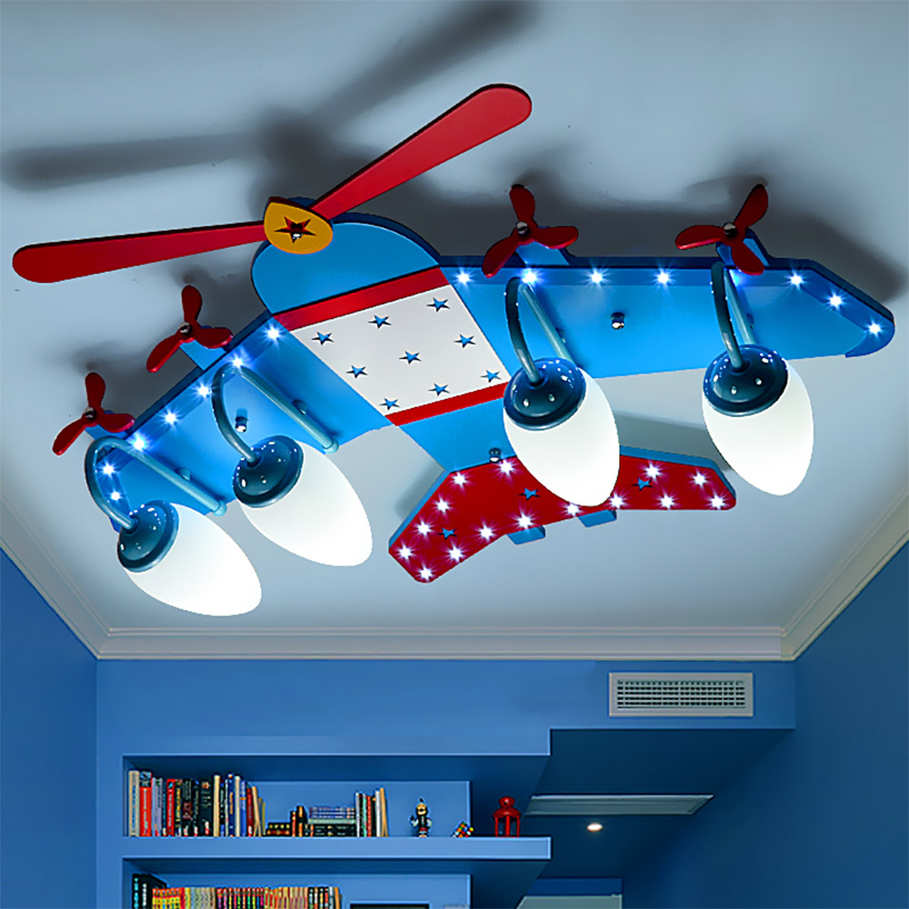 Airplane wood led lamp children ceiling lights 110V-220V E14 Led bulb ceiling fixture children room ceiling lights kids 3 head acrylic shade kids room wooden children ceiling lights led e27 bulb 110v 220v led ceiling light fixtures lustre luminaire