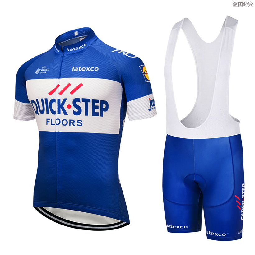 цена 2018 QUICK STEP Cycling Team jersey 9D gel pad bike shorts ropa ciclismo mens summer Tour BICYCLING Maillot Culotte clothing set онлайн в 2017 году