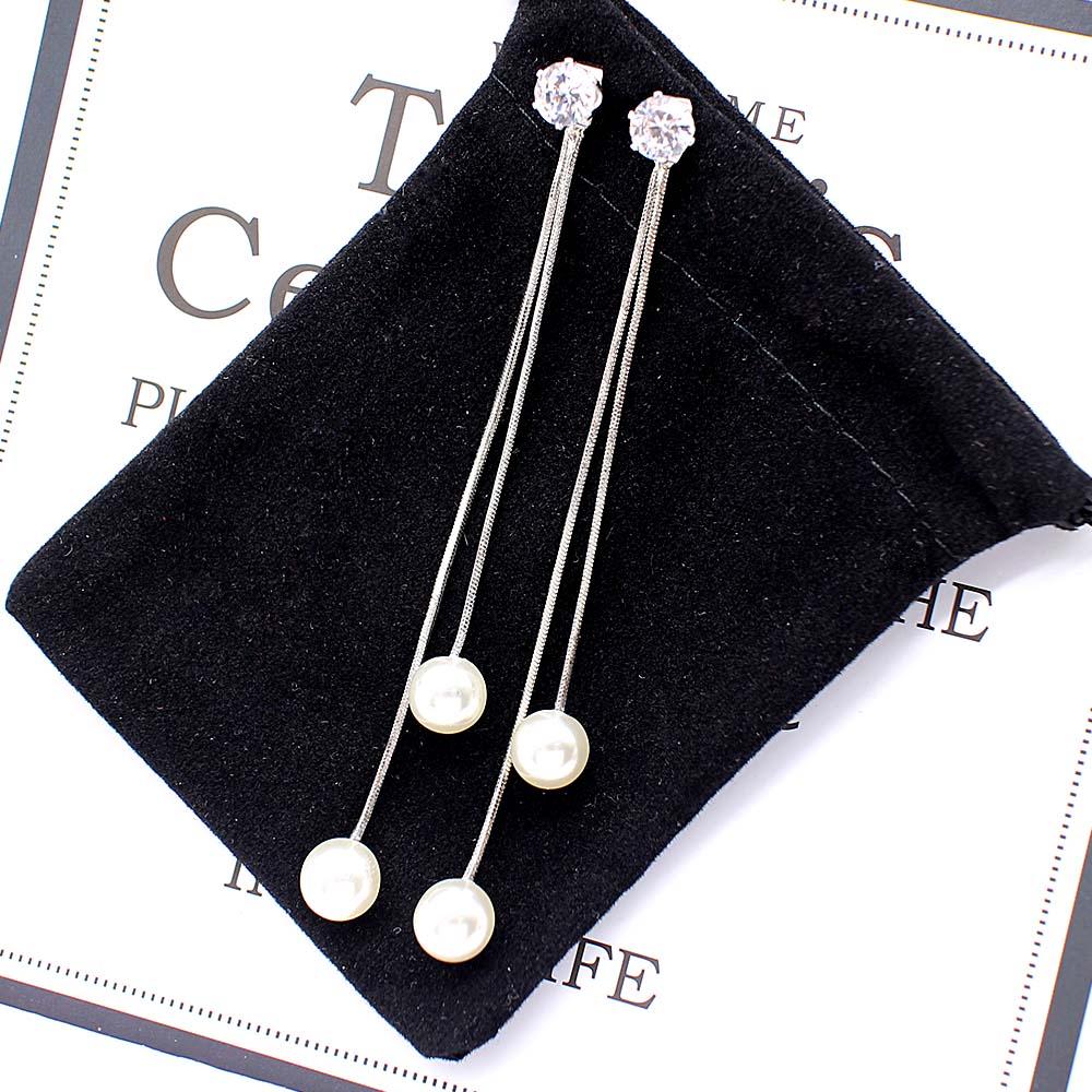 Fashion Long Tassel Simulated Pearl Drop Earrings for women girl Rhinestone exquisite Snake Chain Pendant Earring Brincos Bijoux 3