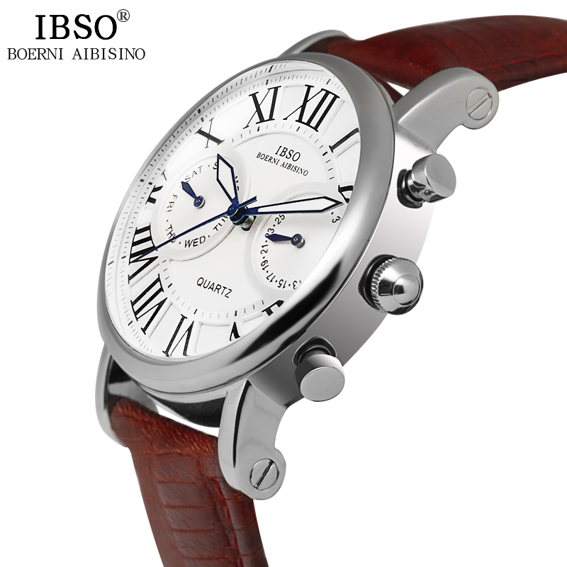 IBSO Top Brand Quartz Woman Watches Genuine Leather Strap Watch Women Calendar Week Display Relojes Mujer 2017 Montre Femme waterproof watch for women nuodun top brand hot sale ladies business watch with calendar week woman wristwatch assista mulher