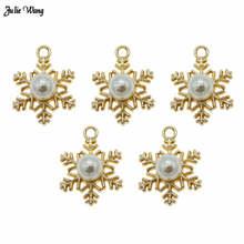 Julie Wang 8pcs Gold Tone Imitation Pearl Snowflake Charm Pendant Women Bracelet Necklace Christmas Decor Craft Accessory17*23mm