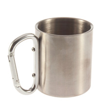 1pcs Steel Camping Cup Mug 220ml Traveling Carabiner Aluminium Hook Double Wall Stainless Dropshipping Newest free
