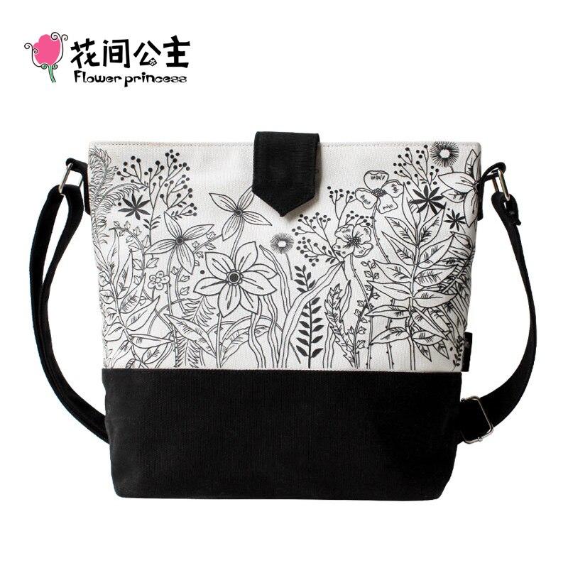 Flower Princess Brand Canvas Flap Bag for Women Fashion White Black Floral Sling Shoulder Bag Crossbody sac bolsa feminina D007 casual canvas satchel men sling bag