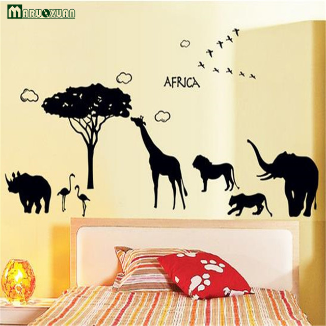Maruoxuan Africa Animal Giraffe Elephant Wall Stickers For Kids ...