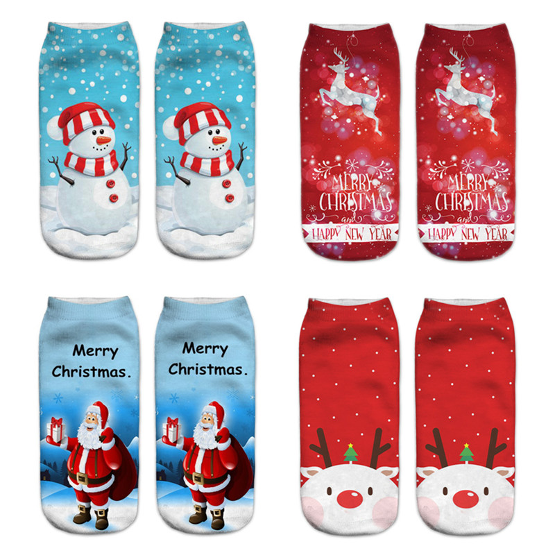 2019 New 3D Christmas   Socks   Women   Socks   Fashion Low Cut Ankle Short   Socks   Female Creative Design Art Funny   Socks   Happy New Year