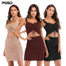 PGSD New Simple fashion Women Clothes Sexy low-chest waist suspension belt pull-rope tie fold wrapped hip Knitted dress female