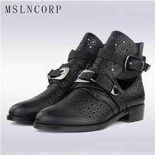 plus size 34-42 Women Genuine Leather Summer Women Fashion Sandals Ankle Boots Low Heels Hollow Gladiator Buckle Casual Shoes цена