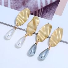 Bohopan Fashion Geometric Pearl Acrylic Drop Earrings Vintage Water Dangle For Women Gold Color Statement Jewelry