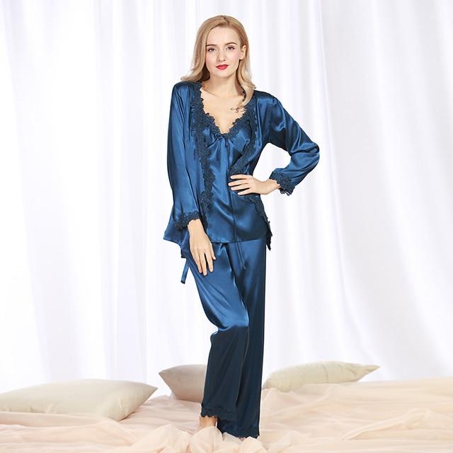 163e2248a3 Women Sexy Silk Satin Pajama Set 3 Pieces Lace Sleepwear Set Spring Autumn  Pyjama Femme Soft Pijama Feminino Fashion Nightwear
