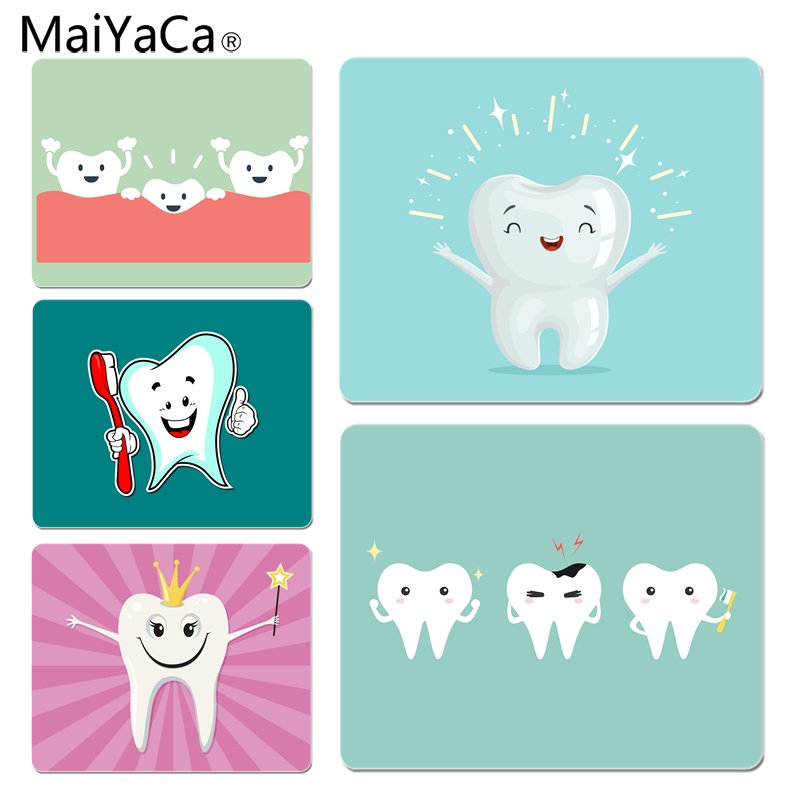MaiYaCa Custom Skin Cute Tooth DIY Design Pattern Game mousepad Size for 180x220x2mm and 250x290x2mm Rubber Mousemats