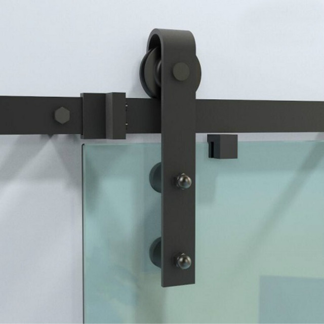 (USA Free Shipping ) 10ft/12ft Rustic Black Sliding Glass Barn Door  Hardware Interior