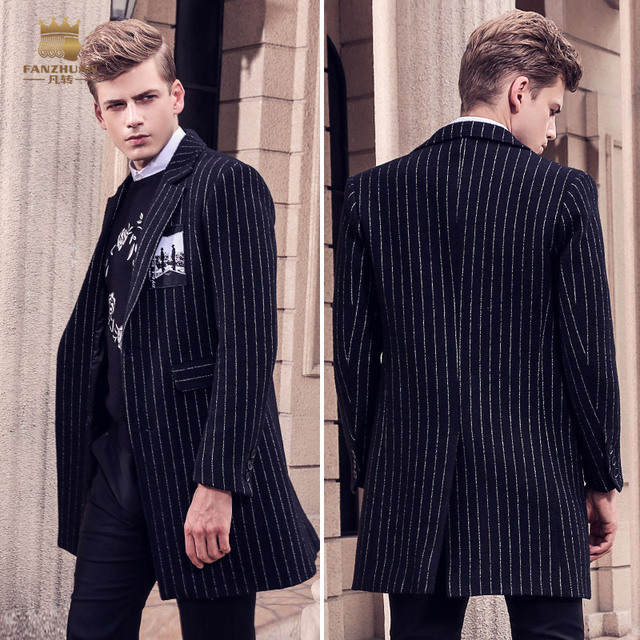 Free Shipping fanzhuan New 2017 fashion casual slim male Men's long winter Striped wool coat suit collar 710157 black