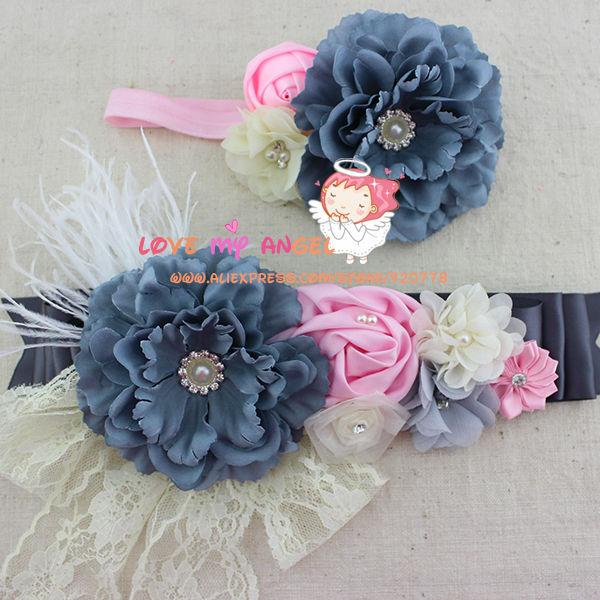 2pcs Set Grey Pink Ivory Baby Girl Flower Sash And Matching Headband Mom Baby  Shower Sash