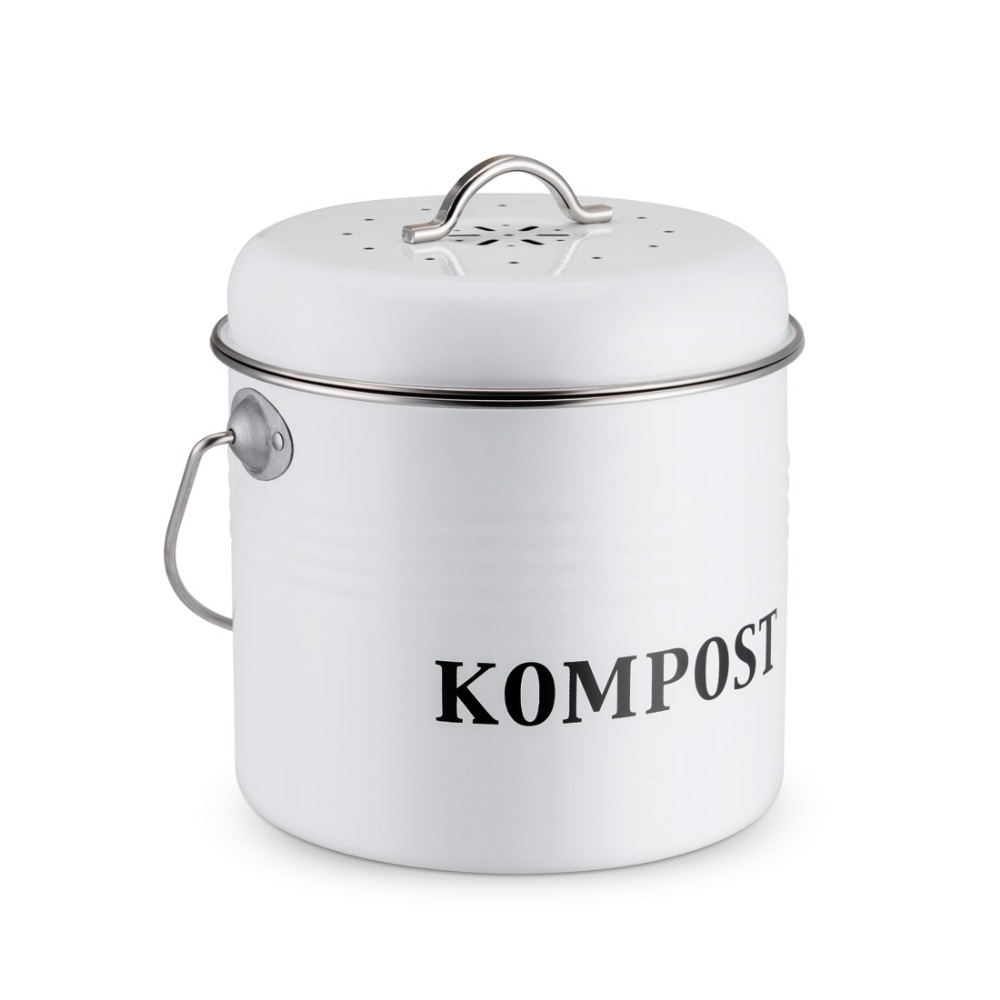 5L Kitchen Compost Bin Organic Homemade Trash Can Melons Leaves Outdoor Countertop Iron Round Charcoal Filter Bucket