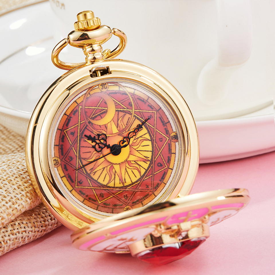 Japan Anime Cardcaptor Sakura Golden Pocket Watch Necklace Star Gemstone Pink Pendant Chain Clock Women Magic Clock Girls Gift