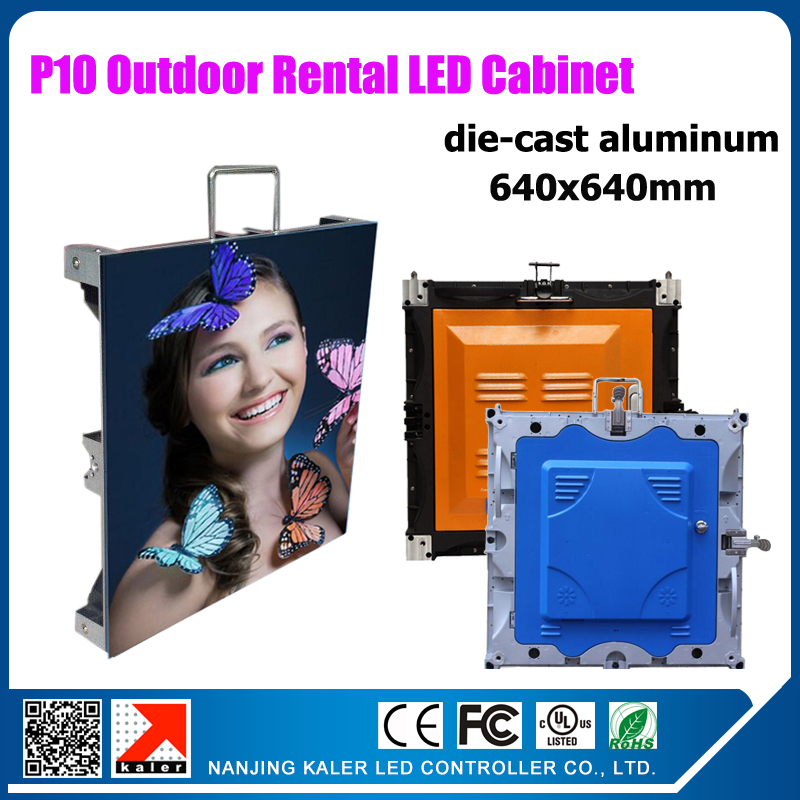 TEEHO P10 outdoor rental led display video wall SMD P10 outdoor die cast aluminum cabinets 640x640mm waterproof display cabinet