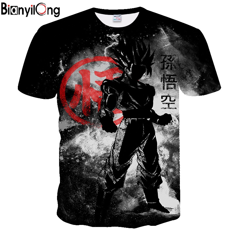 BIANYILONG 2019 new dragon ball   t     shirt   black funny   t     shirts   Dragon Ball Z   T     Shirts   Mens Summer Fashion 3D Print   t  -  shirt   men