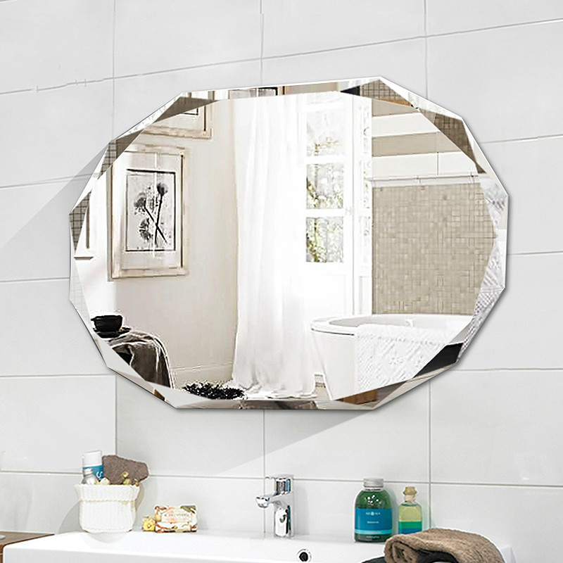 Simple frameless punch free bathroom mirror wall mounted lager bathroom toilet makeup dressing cosmetics mirror mx12281910