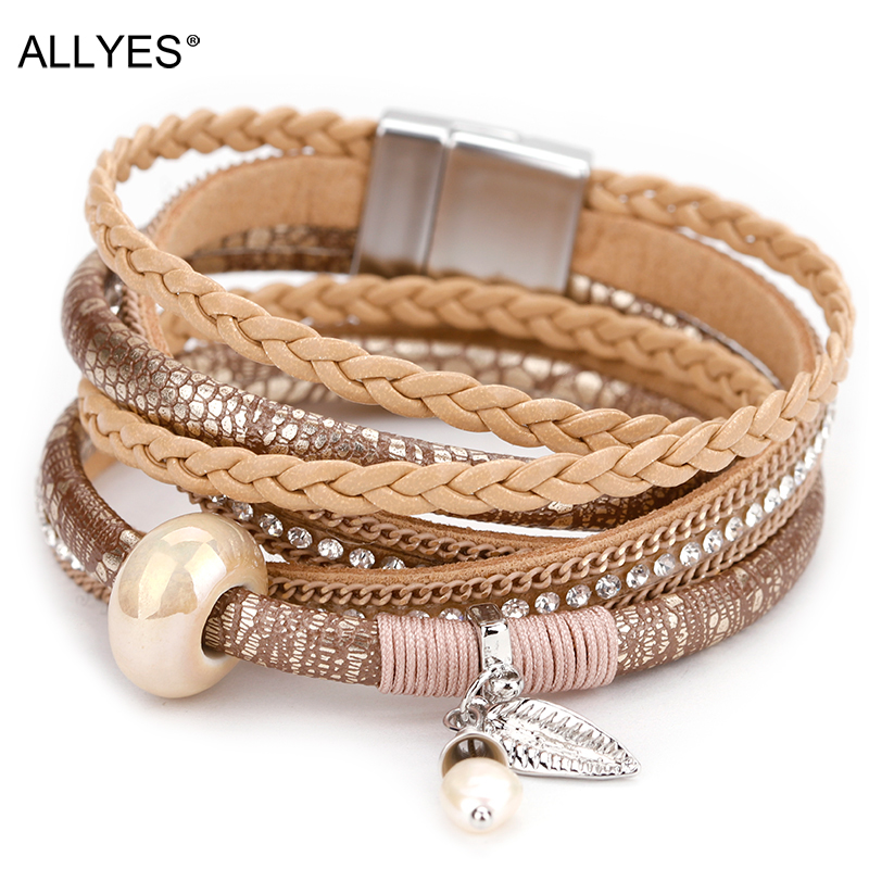 ALLYES Braided Leather Bracelet for Women Femme Natural Pearl Cystal Ceramic Charm Multilayer Bracelets & Bangles Female Jewelry|Charm Bracelets|   - AliExpress