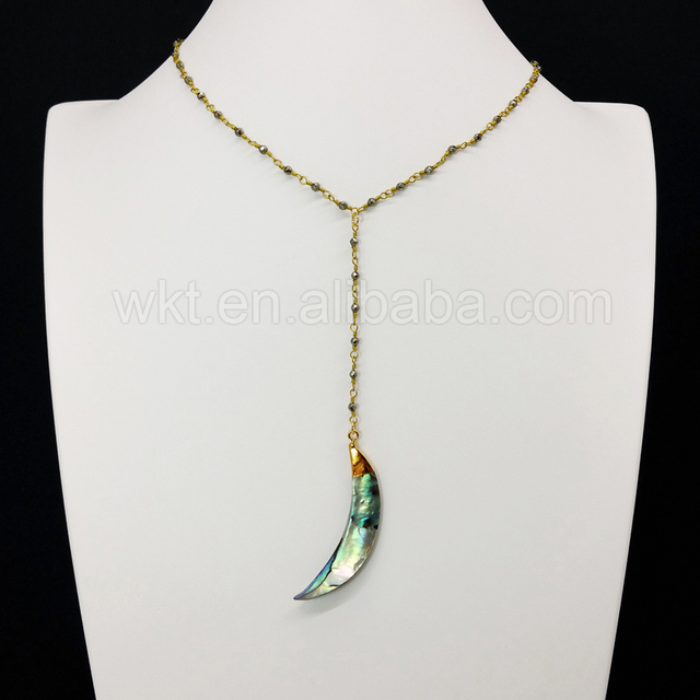 WT N678 Raw abalone shell pendant necklace for wholesale ,beautiful rosary rosary pyrite beads chain necklace choker necklace