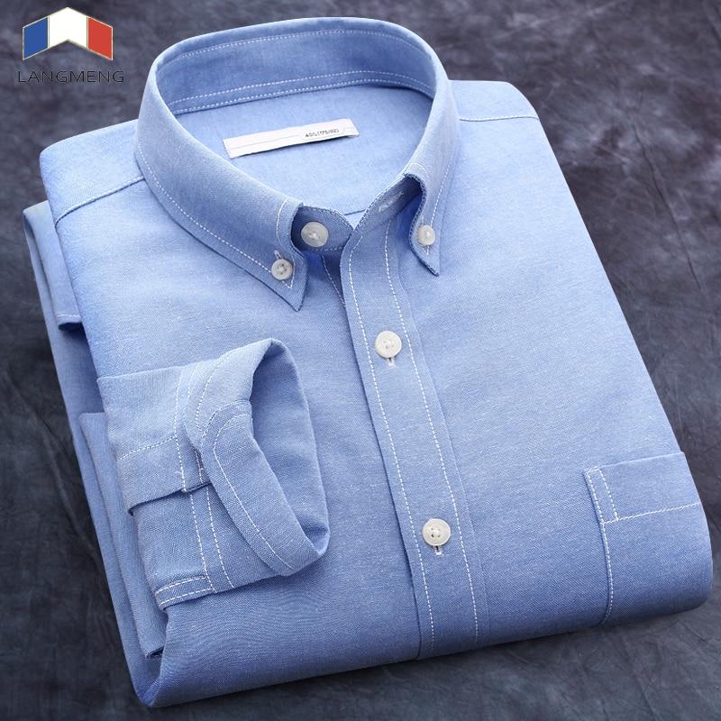 Langmeng free shipping brand casual shirt men long sleeve 2017 spring business shirts solid color dress camisa masculina