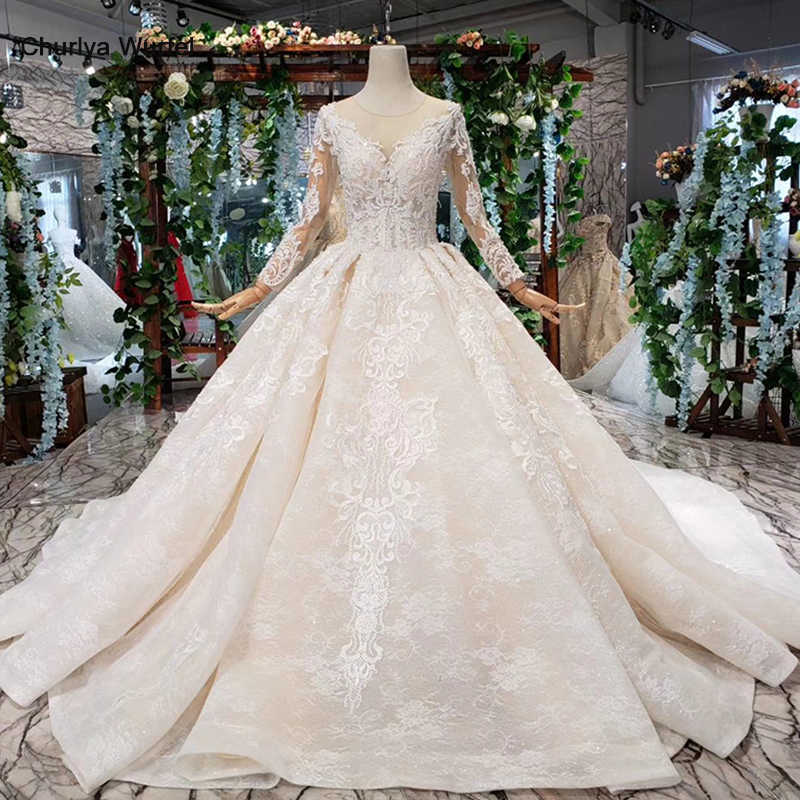 HTL372 luxury popular Wedding Dress with detachable train o neck long bridal dress gown free shipping vestido de noiva princesa