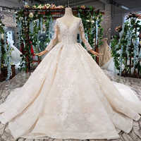 HTL372 luxury popular Wedding Dress with detachable train o neck long bridal dress gown free shipping vestido de noiva princesa