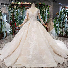 HTL372 luxury popular Wedding Dress with detachable train o neck long bridal dress gown free shipping vestido de noiva princesa(China)
