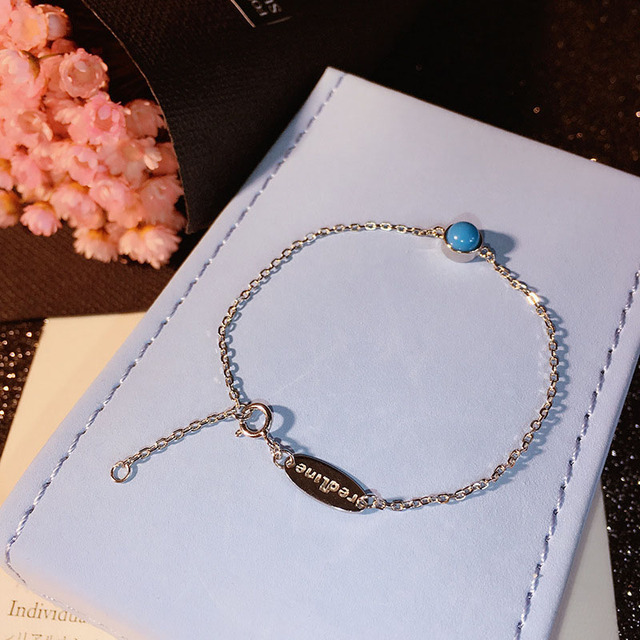 2016 Hot Sale 925 Sterling Silver Bracelet with Turquoise Chain Bracelet for Women Jewelry Blue Round Bead Charm Bracelet