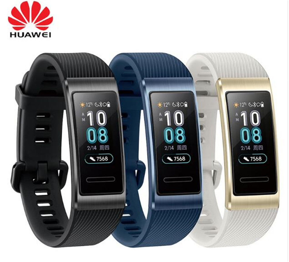 Originele Huawei Band 3 Pro Smart Band GPS NFC Metalen Frame Amoled Kleur Display Touchscreen Zwemmen Beroerte Hartslag Sensor-in Slimme polsbandjes van Consumentenelektronica op  Groep 1