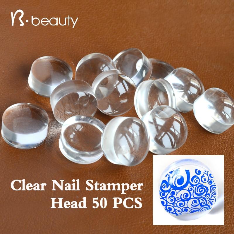 50 шт. 2.8 см ясно желе Дизайн ногтей штампа голову прозрачный силиконовый ногтей штамповки пополнения Инструменты для маникюра