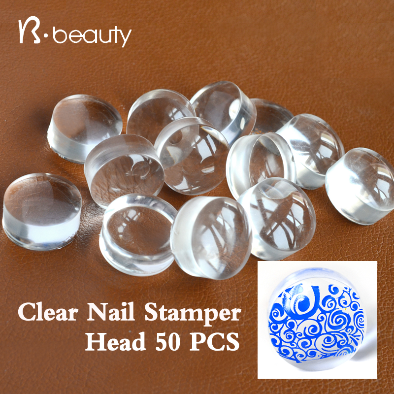 50pcs 2.8cm Clear Jelly Nail Art Stamper Head Transparent Silicone Nail Stamping Refill Nail Tools