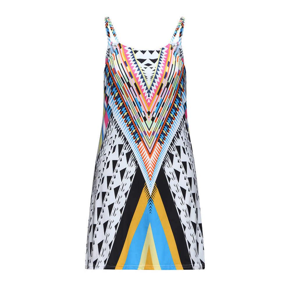 女性のファッションのドレス夏自由奔放に生きるストラップセクシーなプリント A-リネンパーティービーチドレスギフト人気のホット販売ローブフェムセクシーギフト DD5