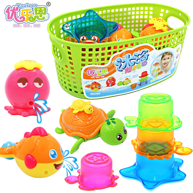Brinquedo do Banho Pato de borracha 2017 Promoção Hot Sale Unisex Amarelo 0-12 Meses 13-24 Parque de Lazer Peixe Brinquedos Do Banho Do Bebê Tartaruga das crianças
