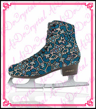 Aidocrystal hot sale print pattern blue crystal figure skating ice shoes